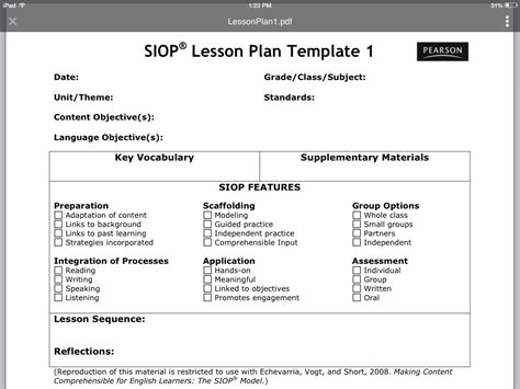 Siop Lesson Plan Template Tryprodermagenixorg