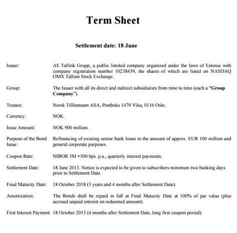 7 sle term sheets sle templates