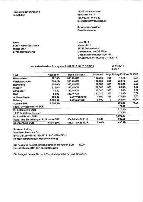 muster einer nebenkostenabrechnung fuer gewerbe kostenlos