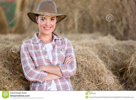 Farm Girl Barn Stock Photo