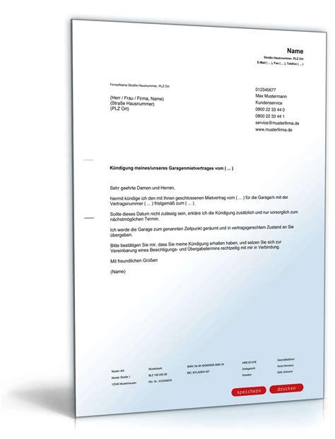 Fristgemäße Kündigung Mietvertrag Garage Durch Mieter