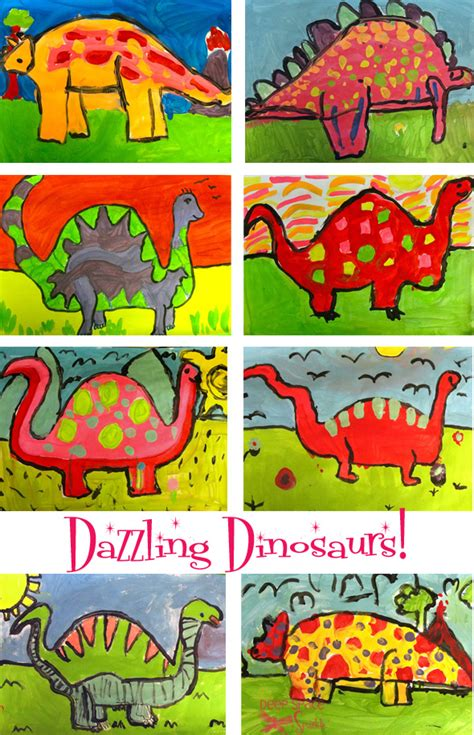 dinosaur project space sparkle 327 | Dinosaur art lesson