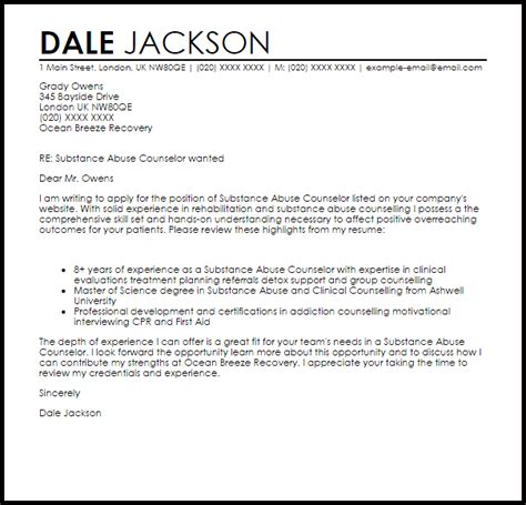 substance abuse counselor cover letter sle livecareer