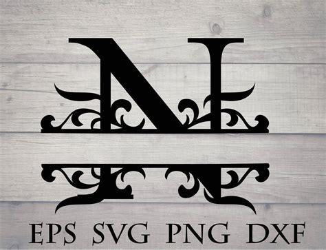 split initial svg split letter  monogram svg split etsy