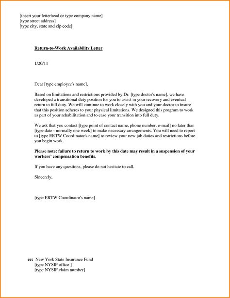 return to work letter template return to work with restrictions letter articleezinedirectory