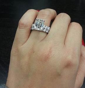 celebrity style dream ring 350 ct emerald cut diamond With emerald cut engagement ring with wedding band