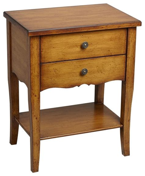 country kitchen side table country cottage alma 2 drawer pecan finish wood accent