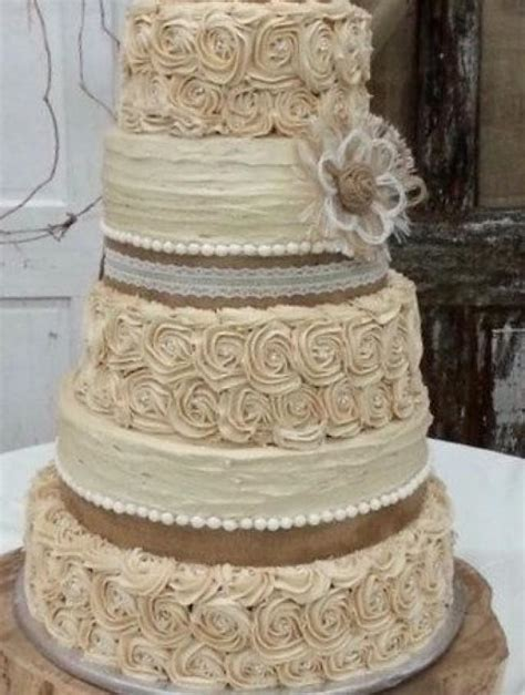 rustic wedding cake burlap flower farmhouse southern