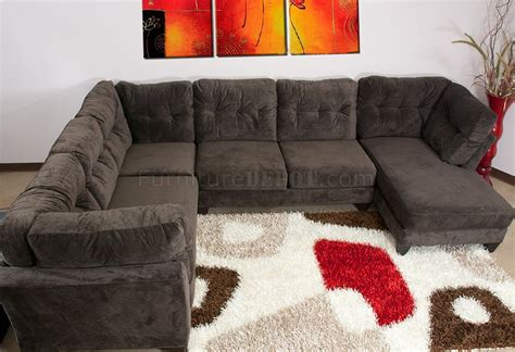 mocha brown suede fabric modern pc sectional sofa