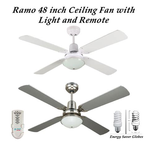 ramo 48 inch ceiling fan with light and remote in