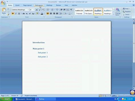 microsoft word of contents microsoft word 2007 of contents youtube