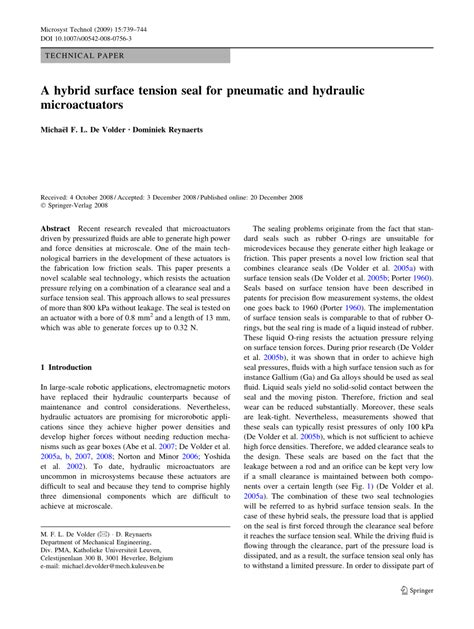 (PDF) A hybrid surface tension seal for pneumatic and