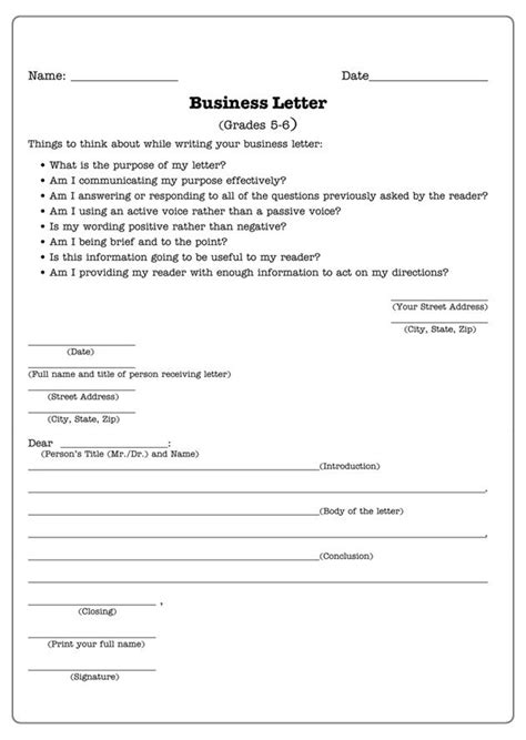 business letters letter writing worksheet for 5th and 6th graders jumpstart free