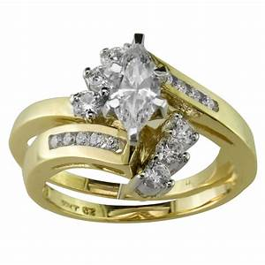 Cubic zirconia swirl bridal set in 10k yellow gold for Cubic zirconia wedding rings sets