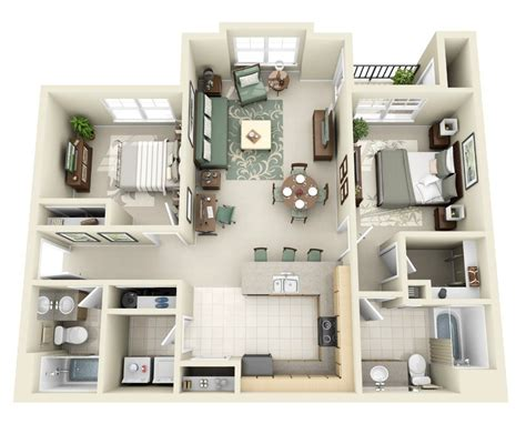 2 bedroom two bathroom apartments 2 bedroom apartment house plans