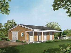 barnhart horse barn plan 002d 7522 house plans and more With 4 stall horse barn cost