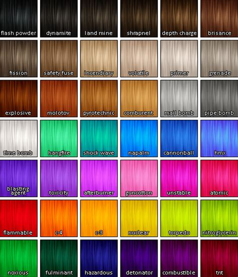 Hair Color Images With Names by Wcif A Swatch Of Pooklet S Hair Colors With The