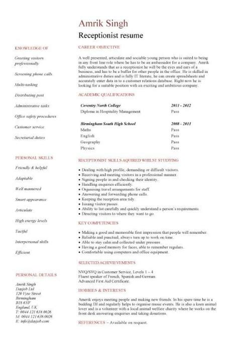 receptionist resume with no experience 907 http