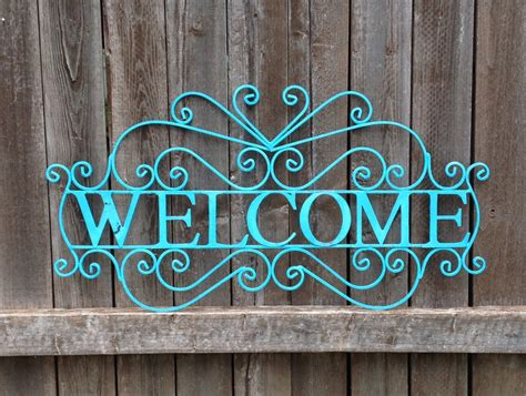 Large Country French Welcome Sign Blue Metal Yard Art