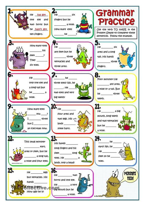 78 Best Images About Have  Has Chart And Worksheets On Pinterest  English Grammar Test