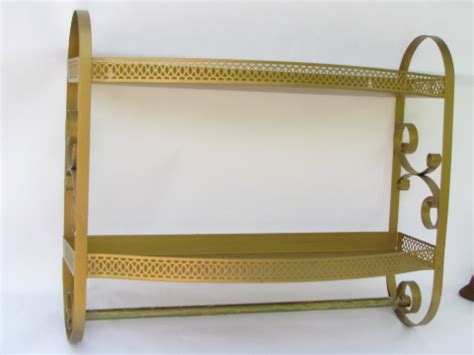 vintage   gold scrolls tole metal bath bathroom