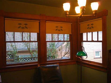 gingko stencil  ecru cotton cloth craftsman windows