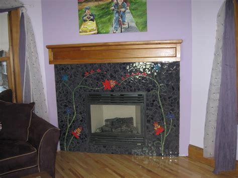 mary mosaic fireplace