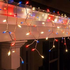 Blue Mini Lights Christmas Icicle Light 150 Red White And Blue Icicle