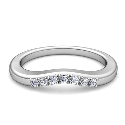 Curved Pave Diamond Wedding Anniversary Ring Band In Platinum
