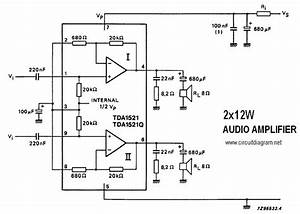 2 X 12w Stereo Amplifier With Tda1521  Tda1521q