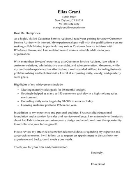 customer service advisor cover letter exles sales
