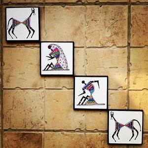 colourful handmade handpainted warli wall art in With wall decor paintings