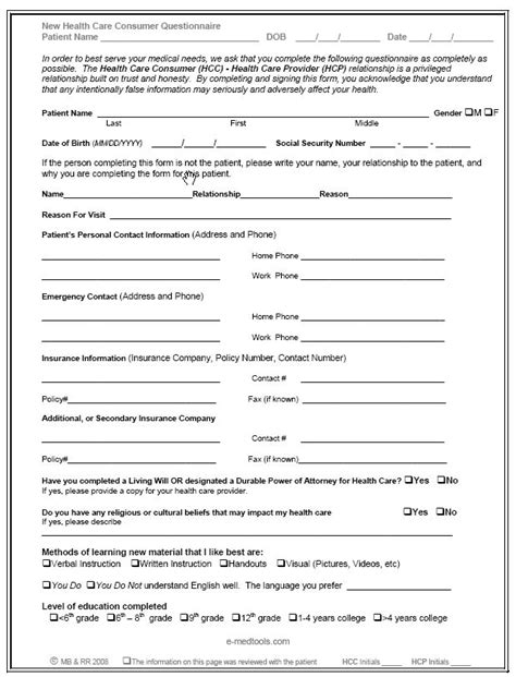 Health Questionnaire Form Template by Questionnaire Form Templates Free Printable