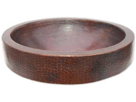 Eden Bath Semi Recessed Copper Vessel Sink With Apron