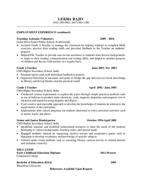 Volunteer Teaching Experience Resume by Resume Lr