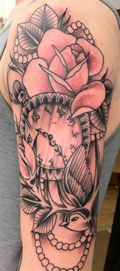 image result  bird  clock tattoo  inked  tattoos sleeve tattoos feminine tattoo