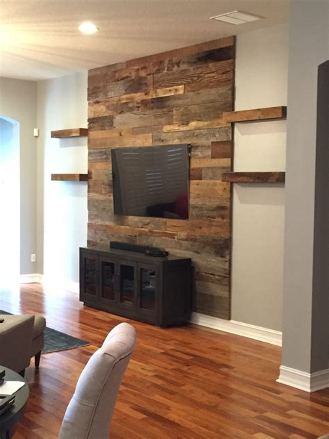 how to install a wood accent wall trevor s reclaimed barn wood accent wall with shelving fama creations