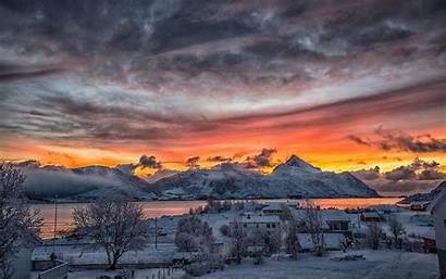 Winter Sunset Snow Mountains Norway Desktop Rural