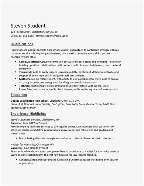 resume for high school student internship world of reference