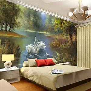 Elegant Swan lake Wallpaper 3D Photo wallpaper Custom Wall ...