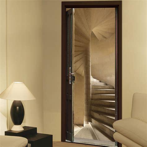 sticker carrelage cuisine sticker porte ondoor escalier à vis 83 cm x 204 cm leroy