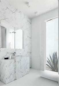 Salle De Bain Marbre Blanc : le lavabo colonne en 81 photos inspirantes ~ Nature-et-papiers.com Idées de Décoration