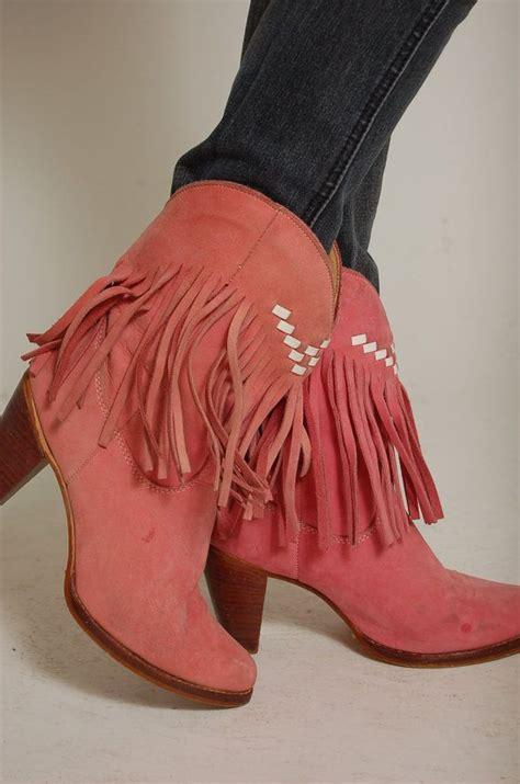 Pink Fringe Cowboy Boots