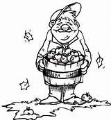 Coloring Apple Harvest Basket Farmer Tocolor Baskets Happy sketch template