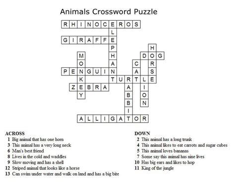 kids crossword puzzles print  animals crossword