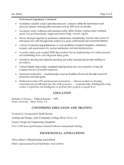 Free Resume For Maintenance Manager by Maintenance Manager Resume Sle All Trades Resume Writing Service