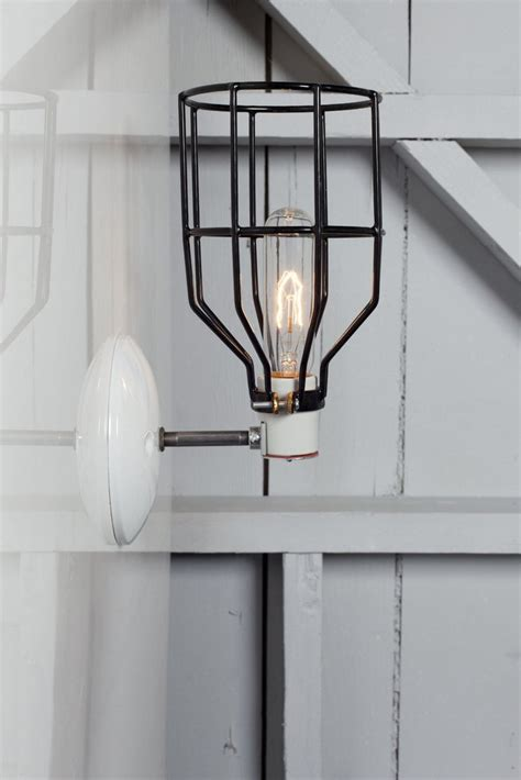 industrial wall light black wire cage wall sconce l