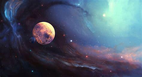 Туманность спутник планета звезды космос Арт. Обои для