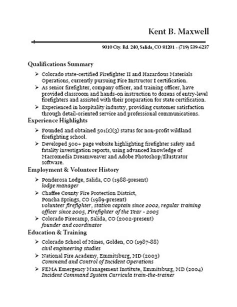 Volunteer Resume Bullets by Colorado Firec Instructor I
