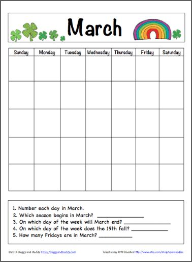 march calendar for kids free printable buggy and buddy